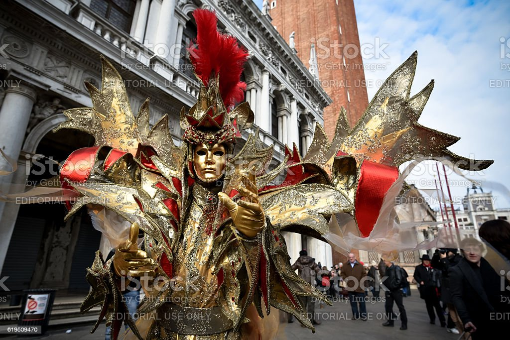 Venice Carnival masked model stock photo