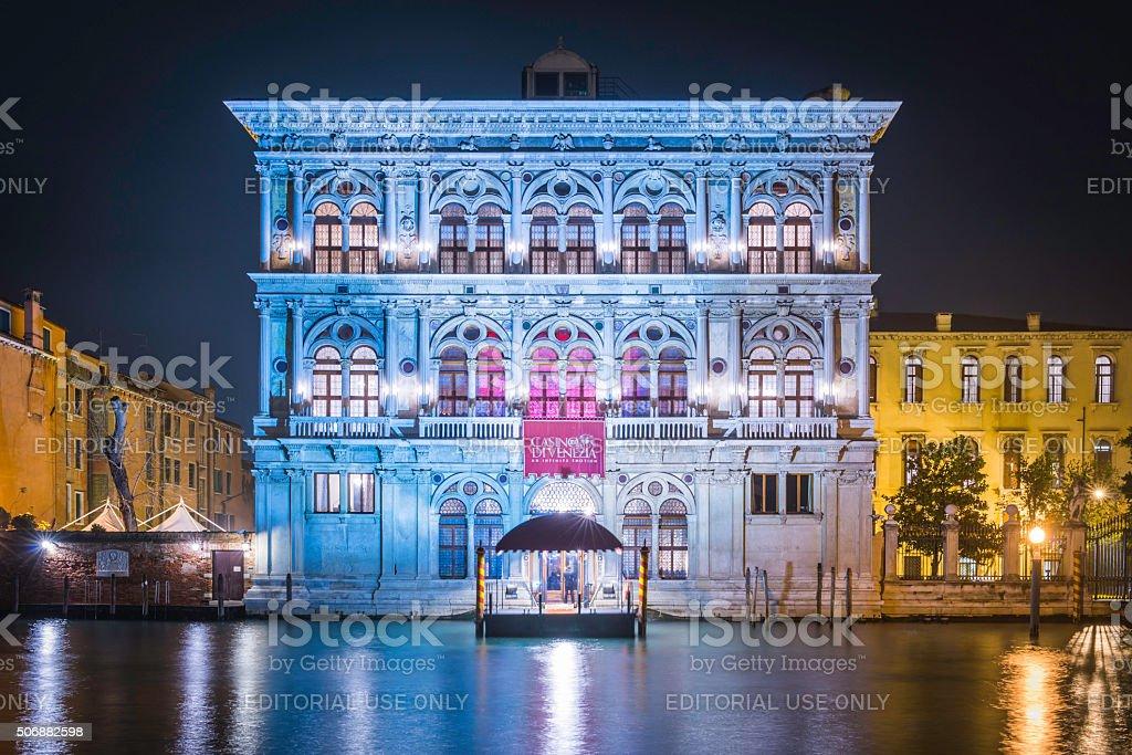 Venice casino de Venezia illuminated palazzo beside Grand Canal Italy stock photo