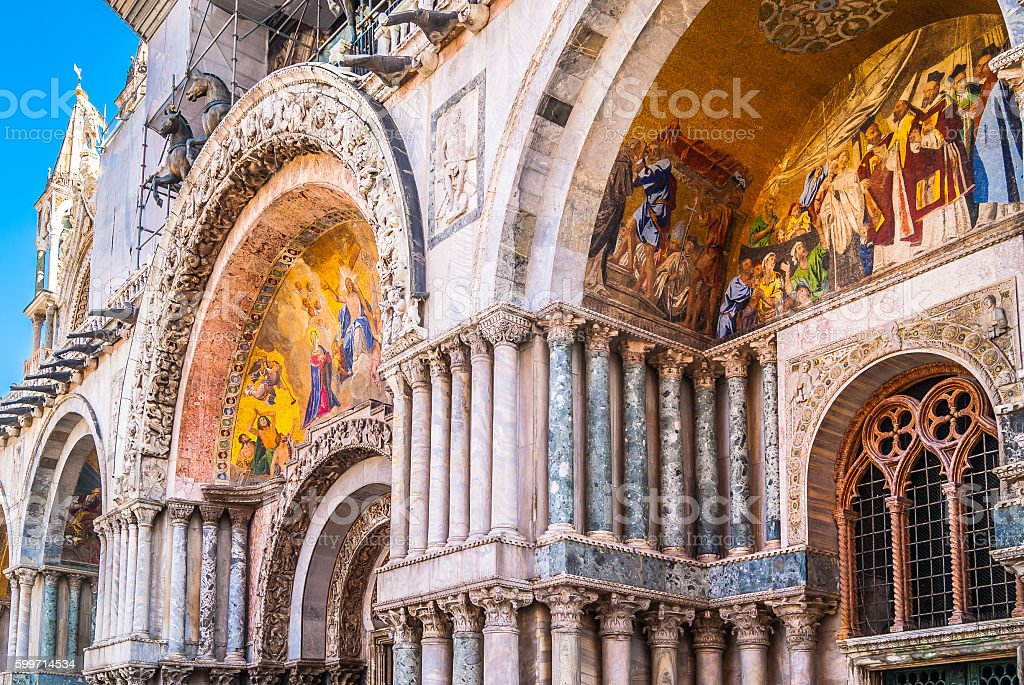 Venice cathedral architecture details. stock photo