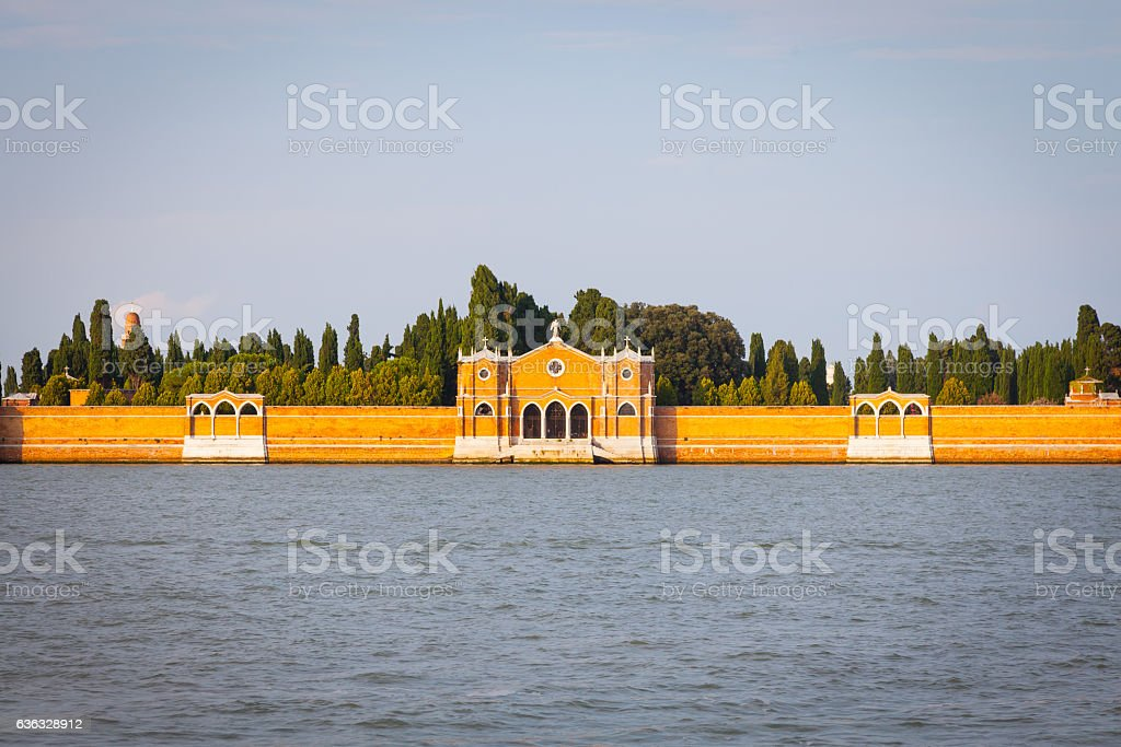 Venice Cemetery of San Michele from the waterfront stock photo