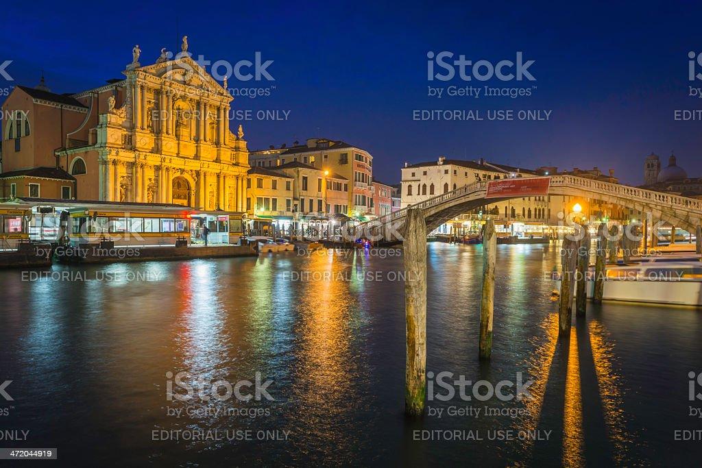 Venice Chiesa degli Scalzi bridge over Grand Canal night Italy stock photo