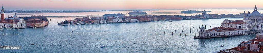 Venice city (Italy) sunset view. Panorama. stock photo