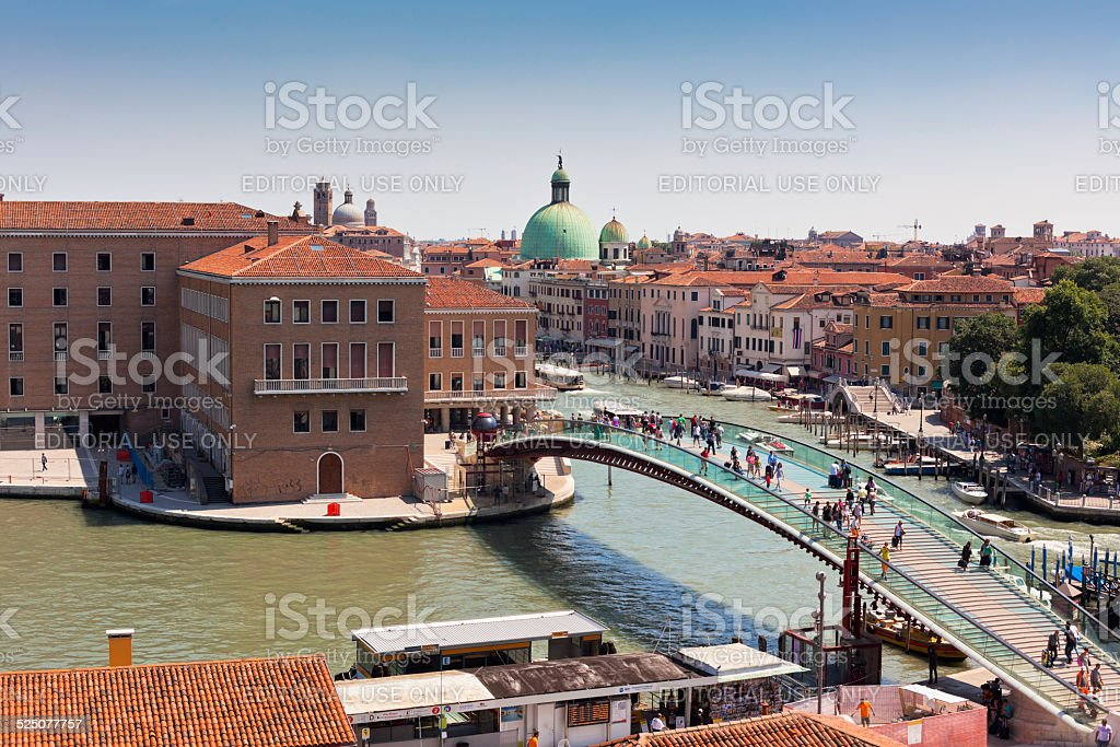 Venice cityscape and The Constitution Bridge stock photo
