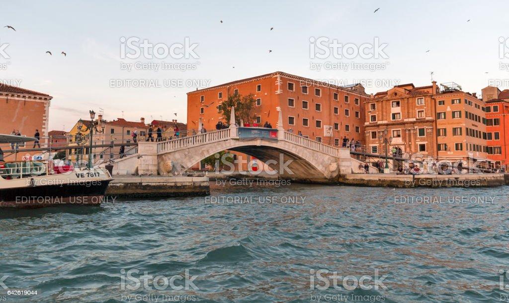 Venice cityscape Castello district at sunset, Italy. stock photo