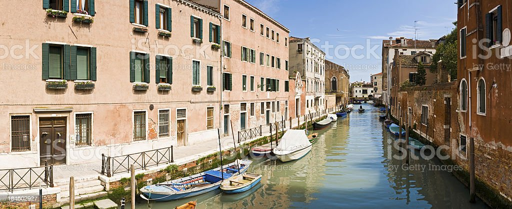 Venice colourful villas tranquil canals panorama Italy royalty-free stock photo