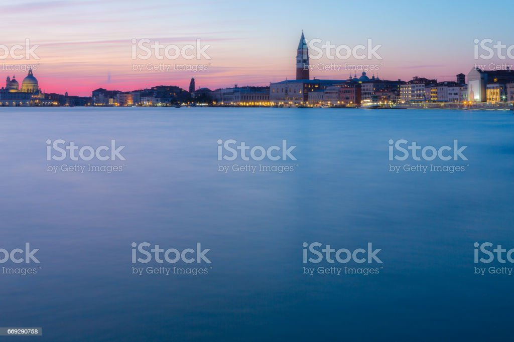 Venice Commercial District During Twilight stock photo
