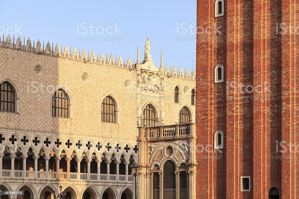 Venice detail of Doge's Palace and San Marco bell tower royalty-free stock photo