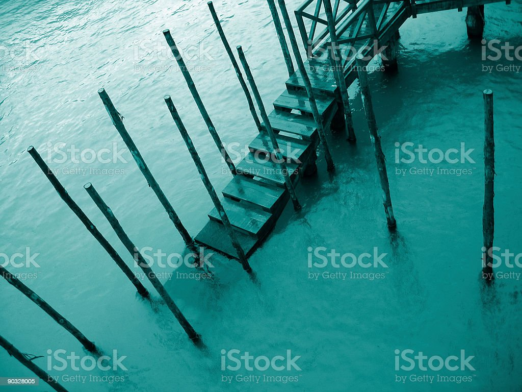 Venice detail - Pier in the rain royalty-free stock photo