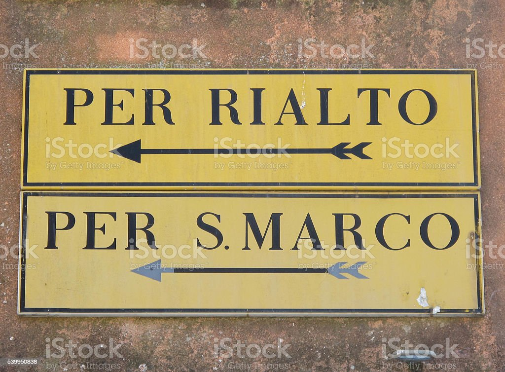 Venice Direction Signs stock photo