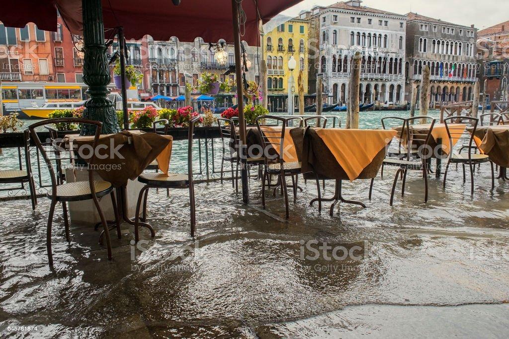 Venice during a flood stock photo