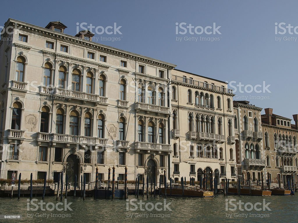 Venice - Exquisite antique buildings along Canal Grande royalty-free stock photo