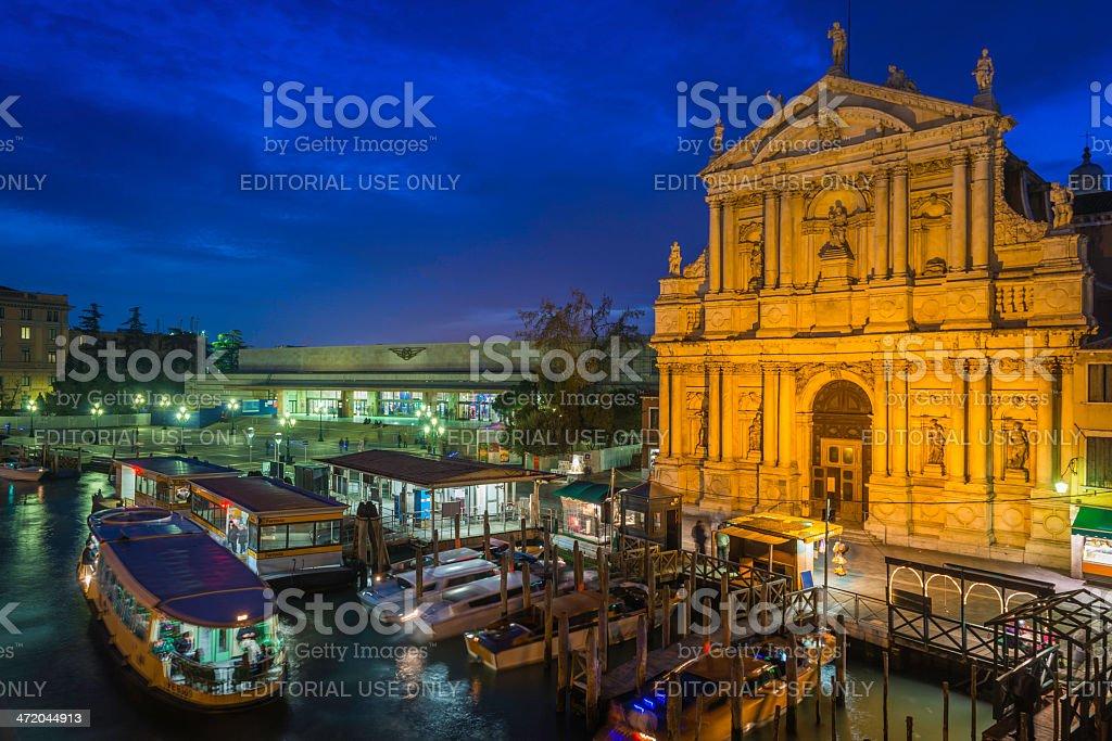 Venice Ferrovia train station Chiesa degli Scalzi illuminated at dusk stock photo