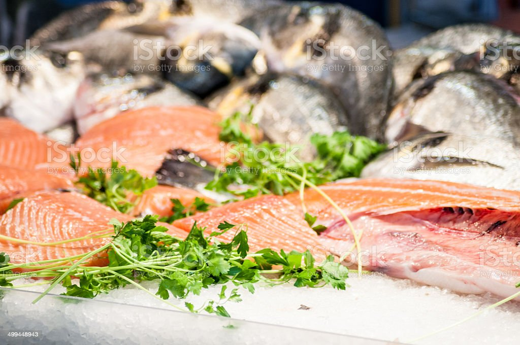 Venice Fish Market - salmon - Stock Image stock photo