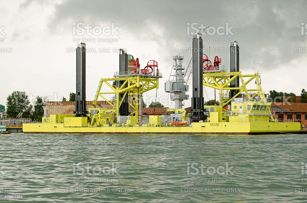 Venice Flood barrier construction stock photo