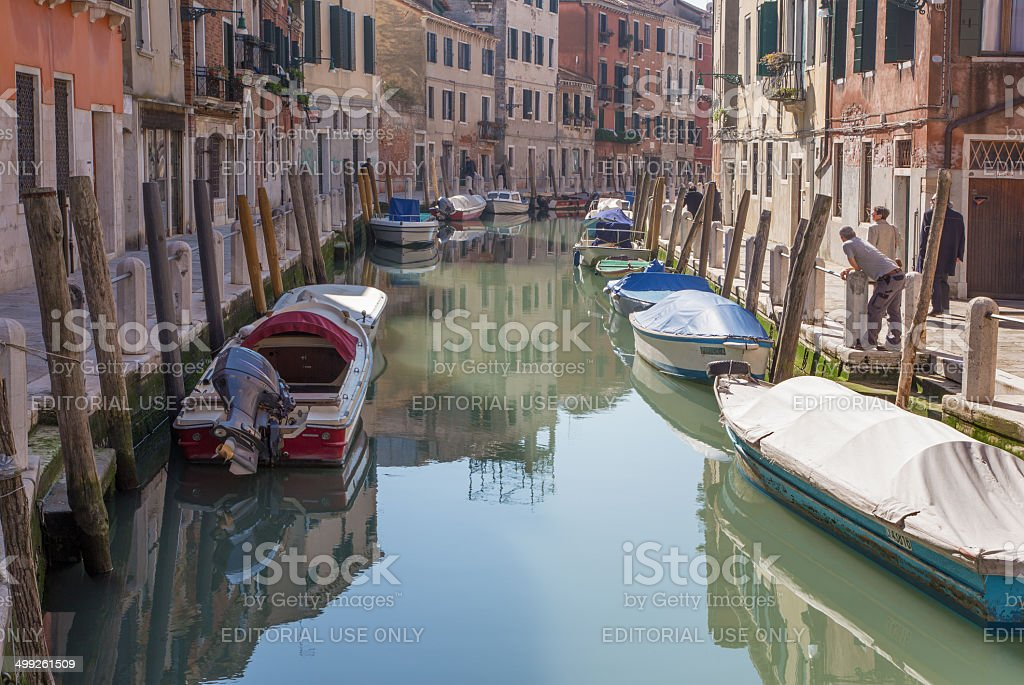 Venice - Fondameneta delle Eremite street and canal stock photo