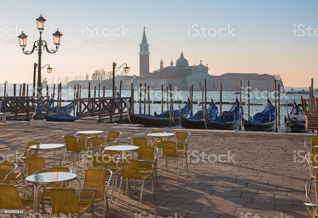 Venice - gondolas and San Giorgio Maggiore stock photo