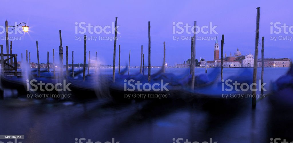 Venice Gondolas at Dusk royalty-free stock photo