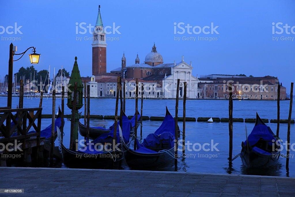 Venice Gondolas at night - church of San Giorgio, Italy royalty-free stock photo