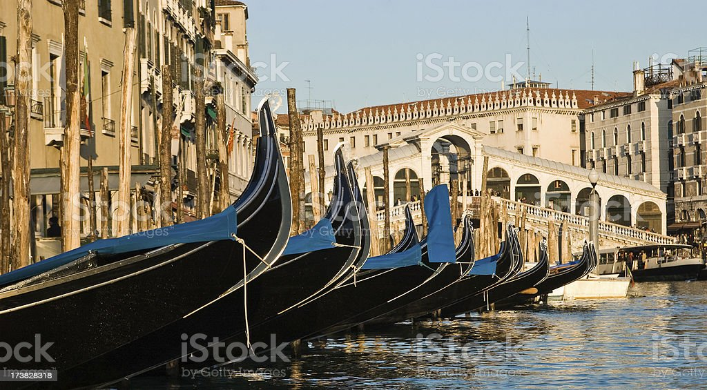 Venice, gondolas, Canale Grande and Rialto bridge royalty-free stock photo