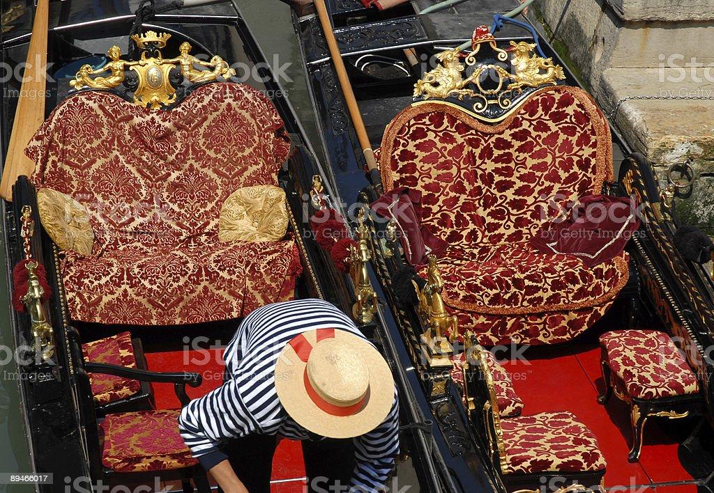 Venice: Gondola's chairs stock photo
