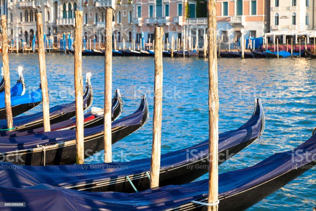 Venice, Gondolas detail stock photo