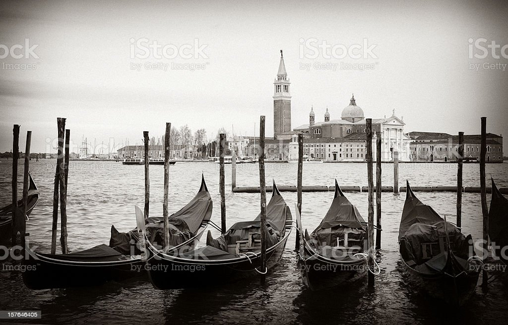 Venice Gondolas in Black and White royalty-free stock photo