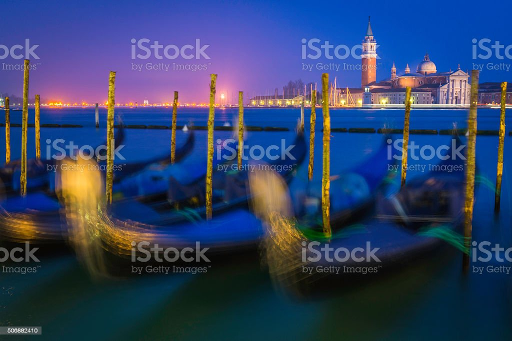 Venice gondolas moored on Grand Canal beside St Marks Square stock photo