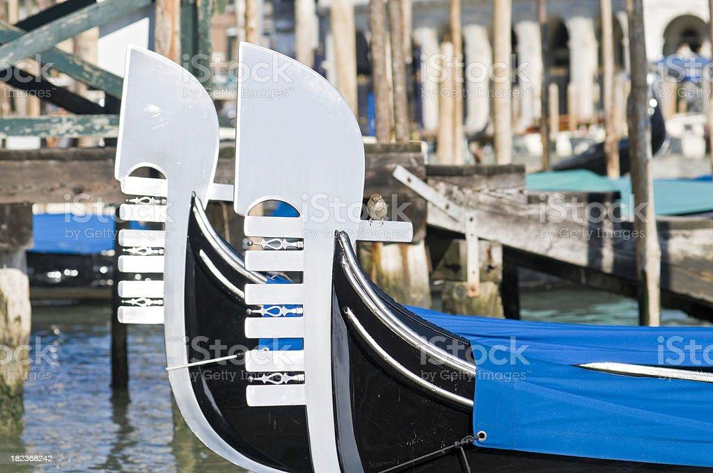Venice gondolas on Grand Canal at Rialto Italy royalty-free stock photo