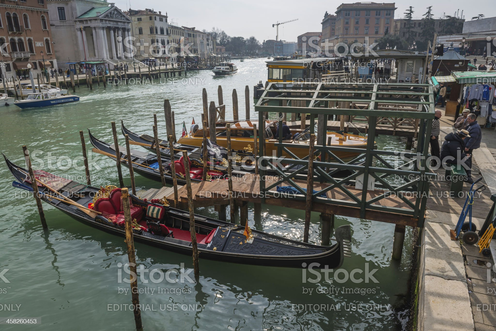 Venice gondoliers and gondolas on the Grand Canal Ferrovia Italy royalty-free stock photo
