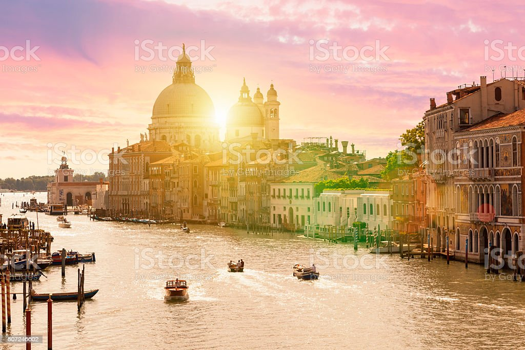 Venice, Grand Canal and Santa Maria della Salute stock photo