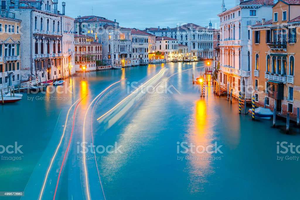 Venice. Grand Canal at night. stock photo