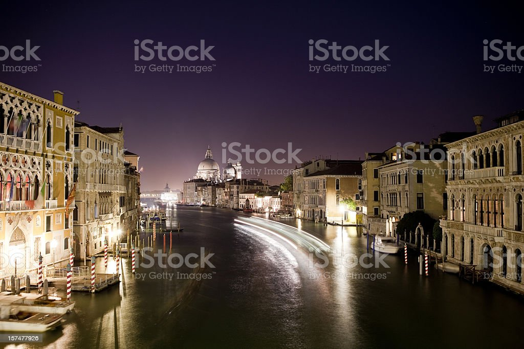 Venice Grand Canal at Night, Venezia, Italy royalty-free stock photo