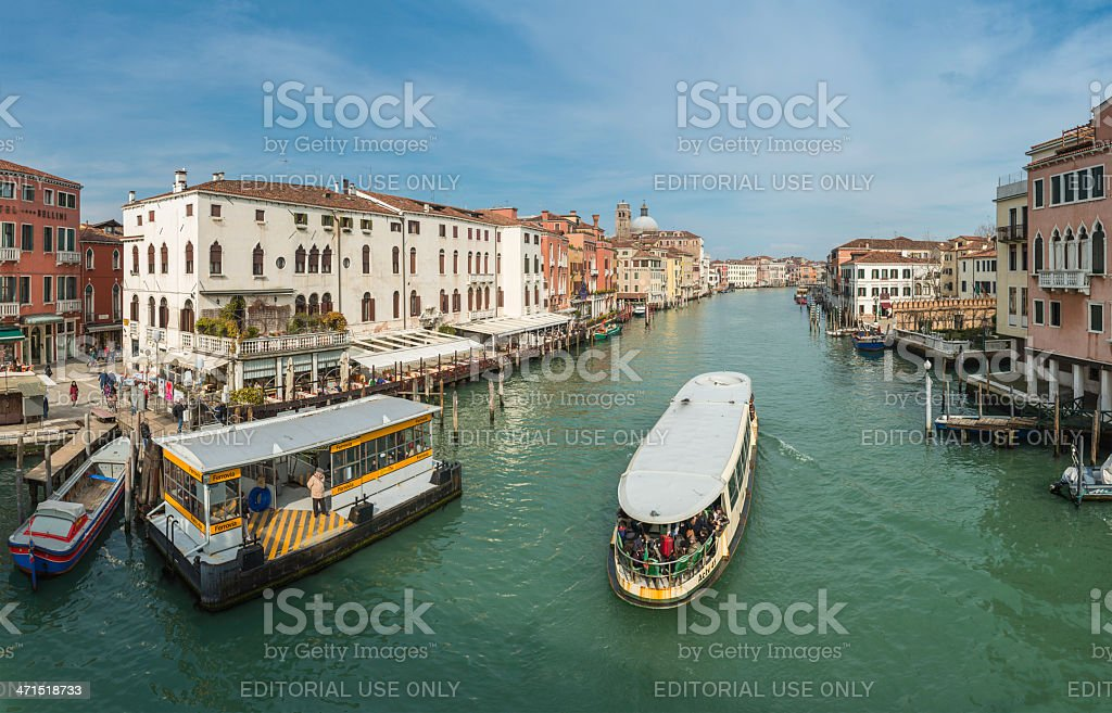 Venice Grand Canal crowded water bus panorama Accademia Italy stock photo