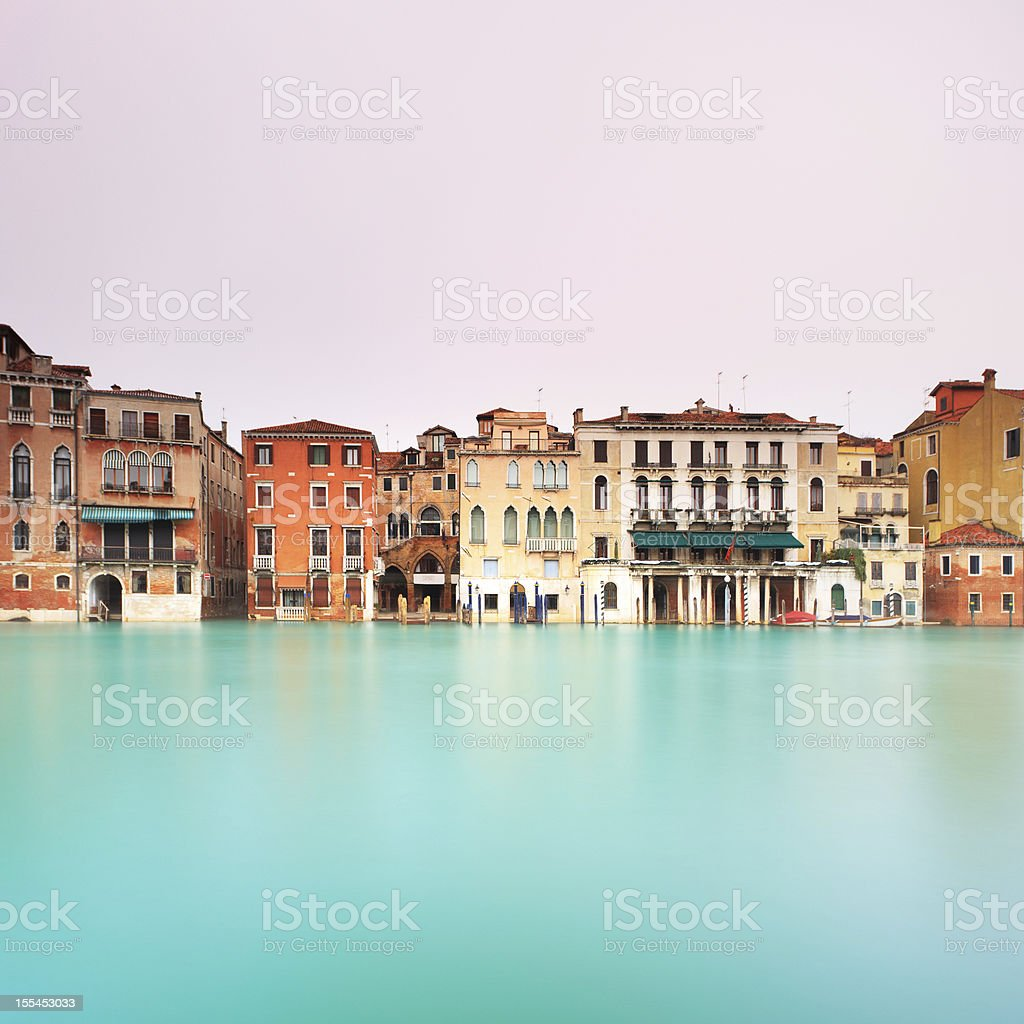Venice, Grand Canal detail. Long exposure photography. stock photo