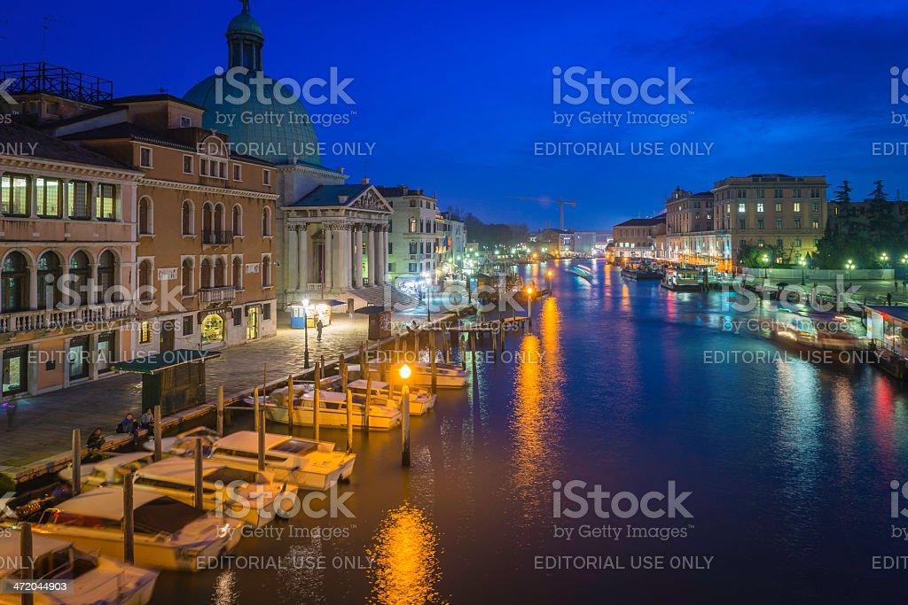 Venice Grand Canal from Ferrovia at dusk Italy stock photo
