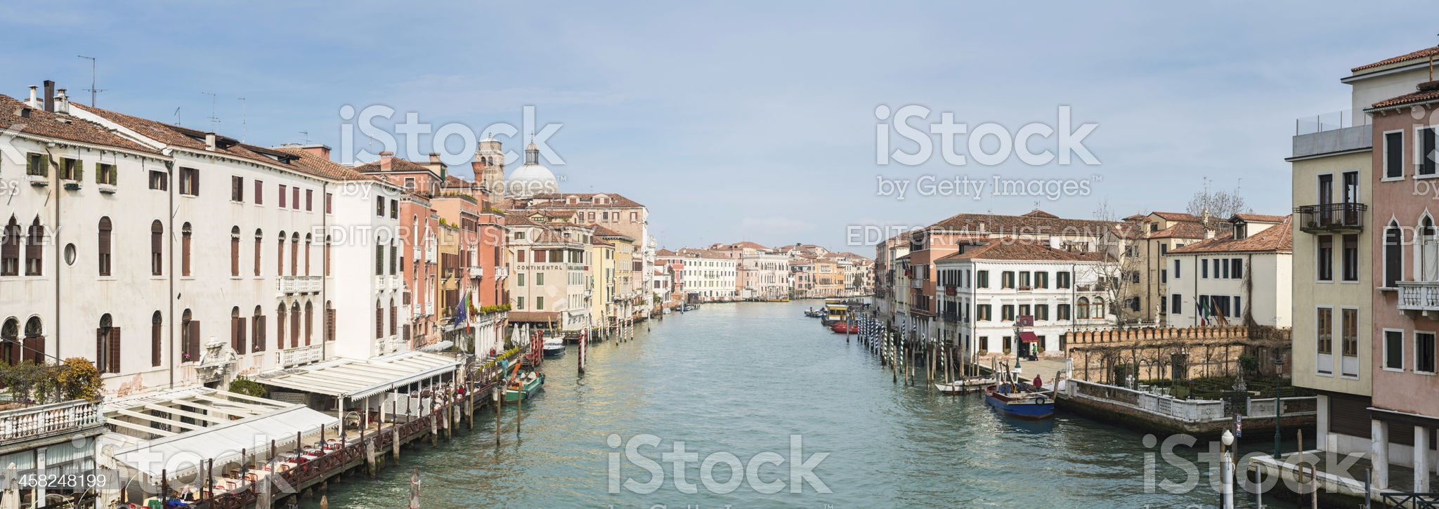 Venice Grand Canal hotels and restaurants panorama Italy royalty-free stock photo