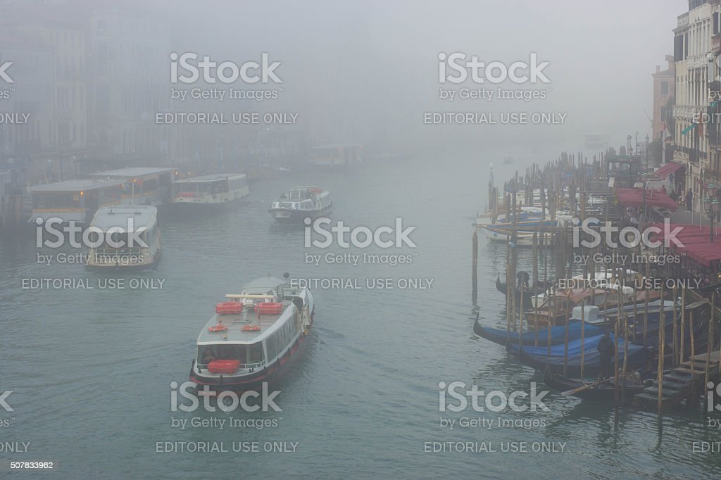 Venice Grand Canal in early morning mist stock photo