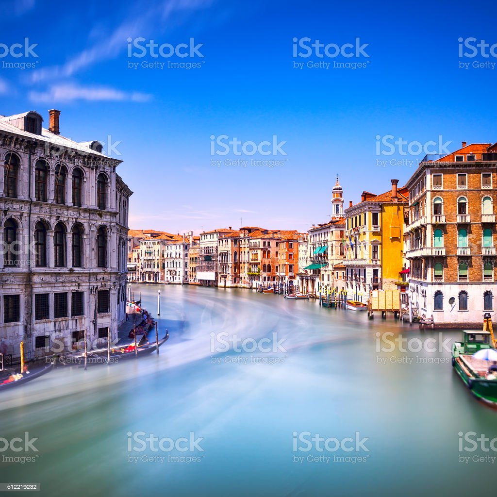 Venice grand canal or Canal Grande, view Rialto bridge. Ita stock photo