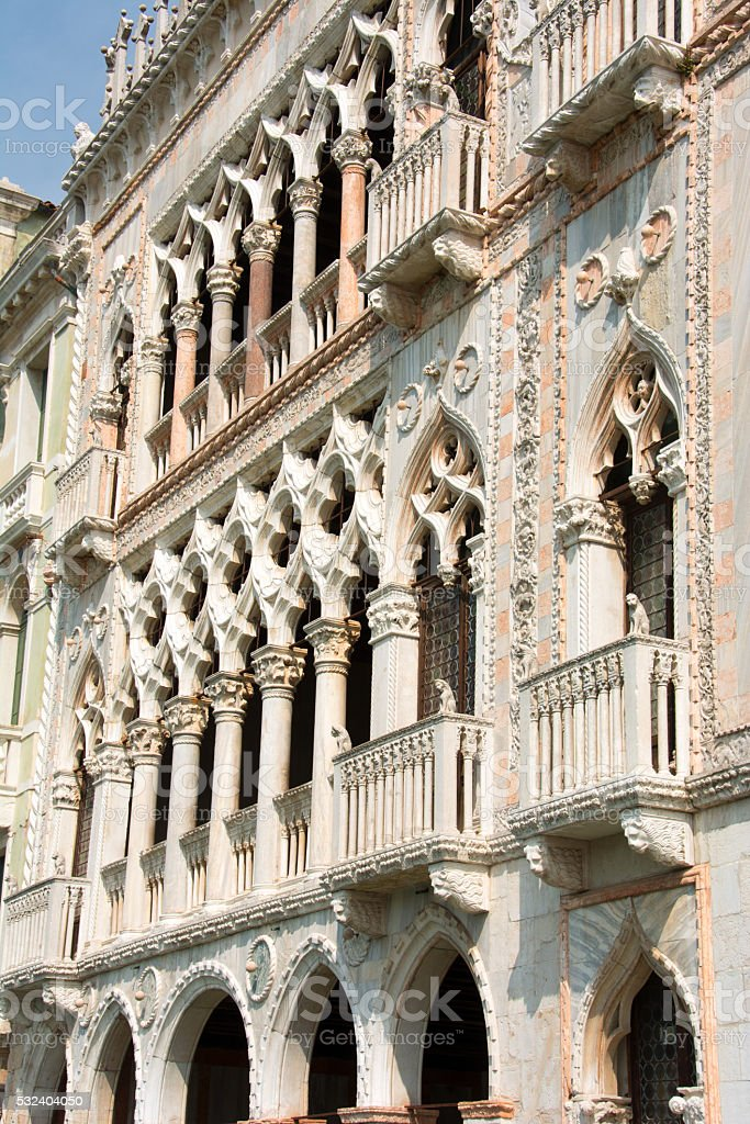 Venice Grand Canal- ornate fronts of ancient buildings stock photo