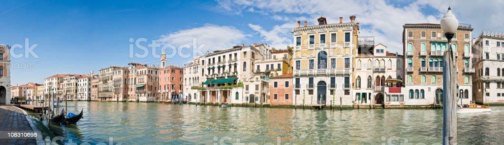 Venice Grand Canal Palazzo and gondolas panorama Italy royalty-free stock photo