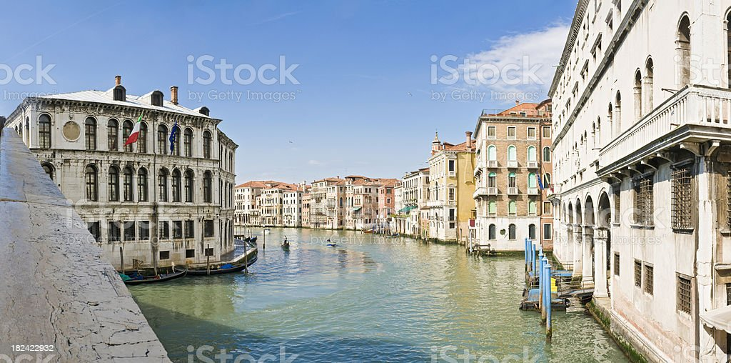 Venice Grand Canal Palazzo gondoliers villas from Rialto Bridge Italy royalty-free stock photo