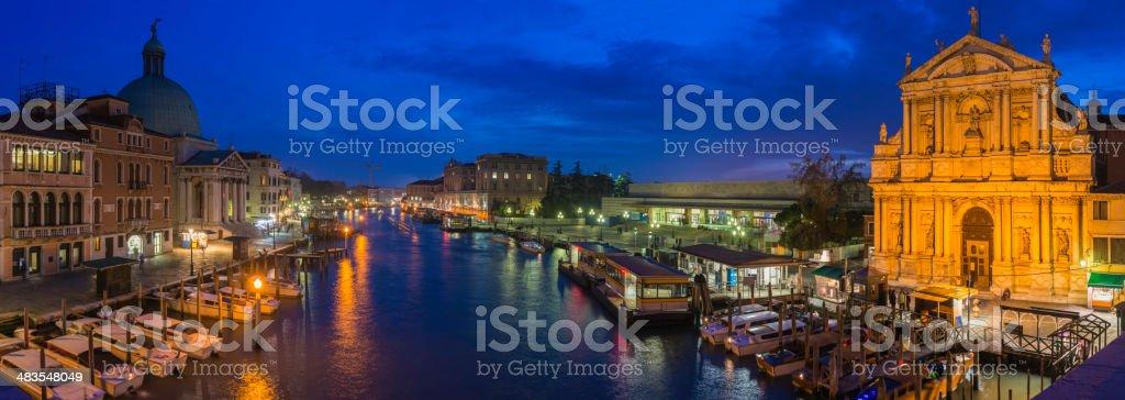 Venice Grand Canal panorama illuminated at dusk Ferrovia station Italy stock photo