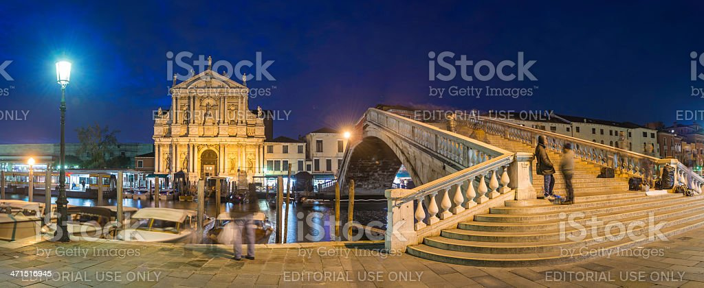 Venice Grand Canal Ponte Scalzi panorama illuminated at dusk Italy stock photo