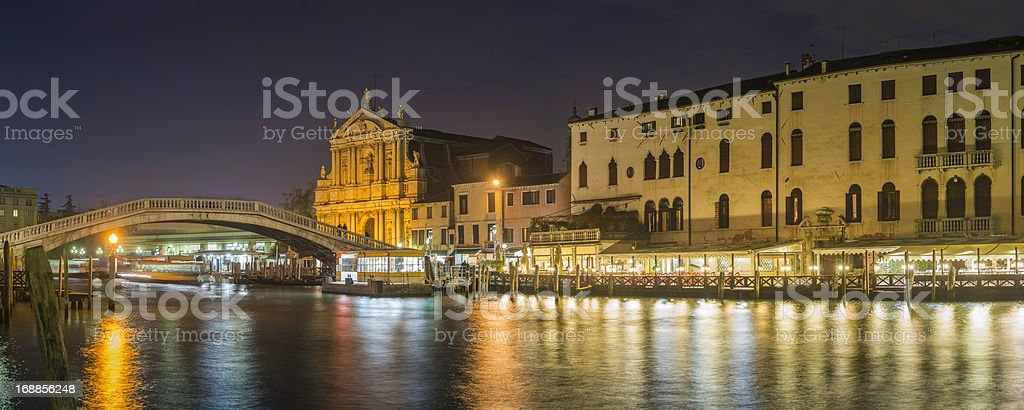 Venice Grand Canal Scalzi Ferrovia bridge illuminated at dusk Italy royalty-free stock photo