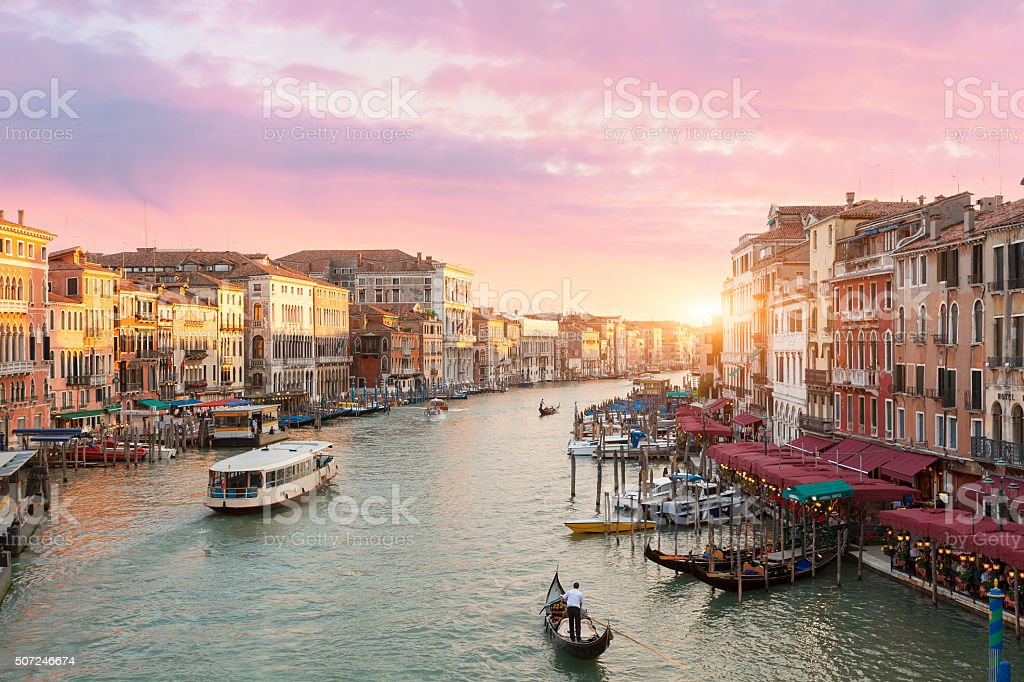 Venice, Grand Canal View at sunset from Rialto Bridge stock photo