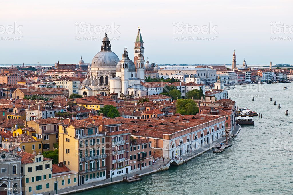 Venice Grand Canal with Basilica di Santa Maria della Salute stock photo