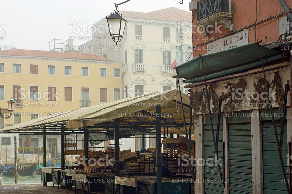 Venice Grand Canalside in early morning mist stock photo