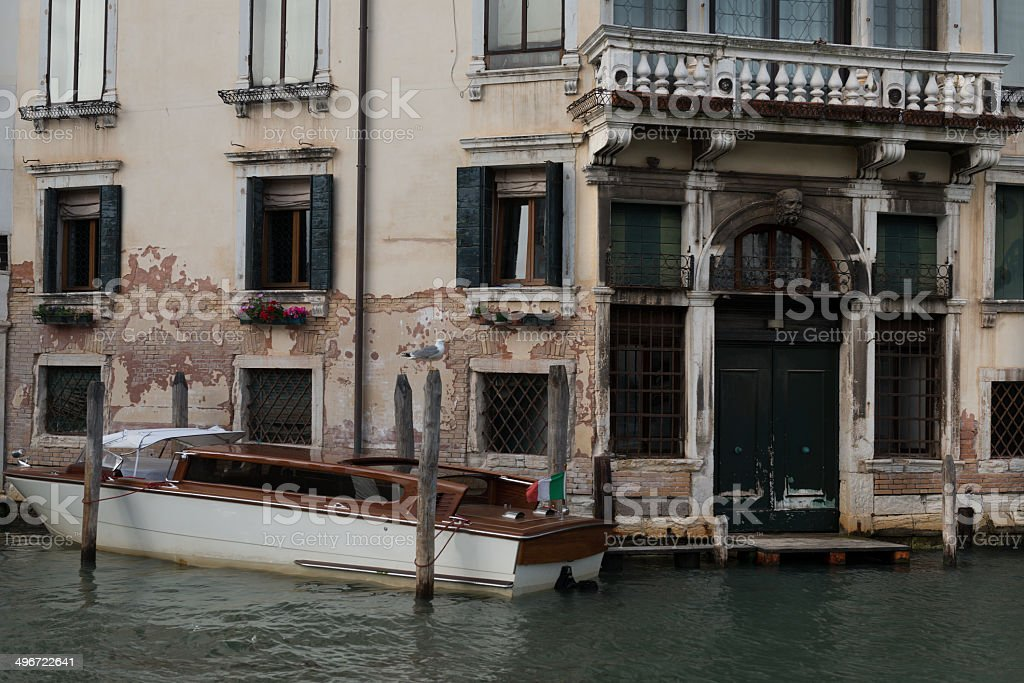 Venice house and private boat. royalty-free stock photo