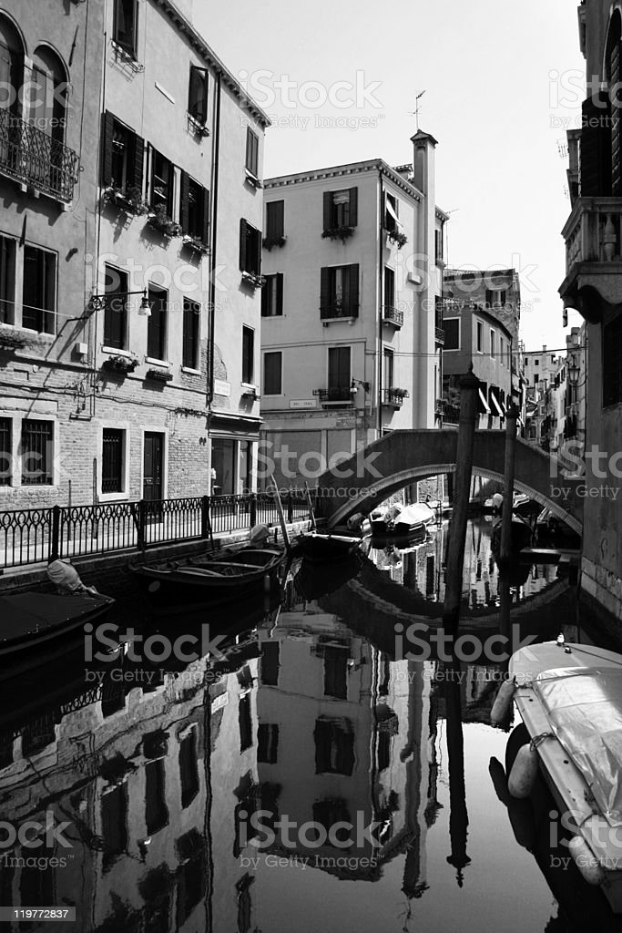Venice in black and white stock photo