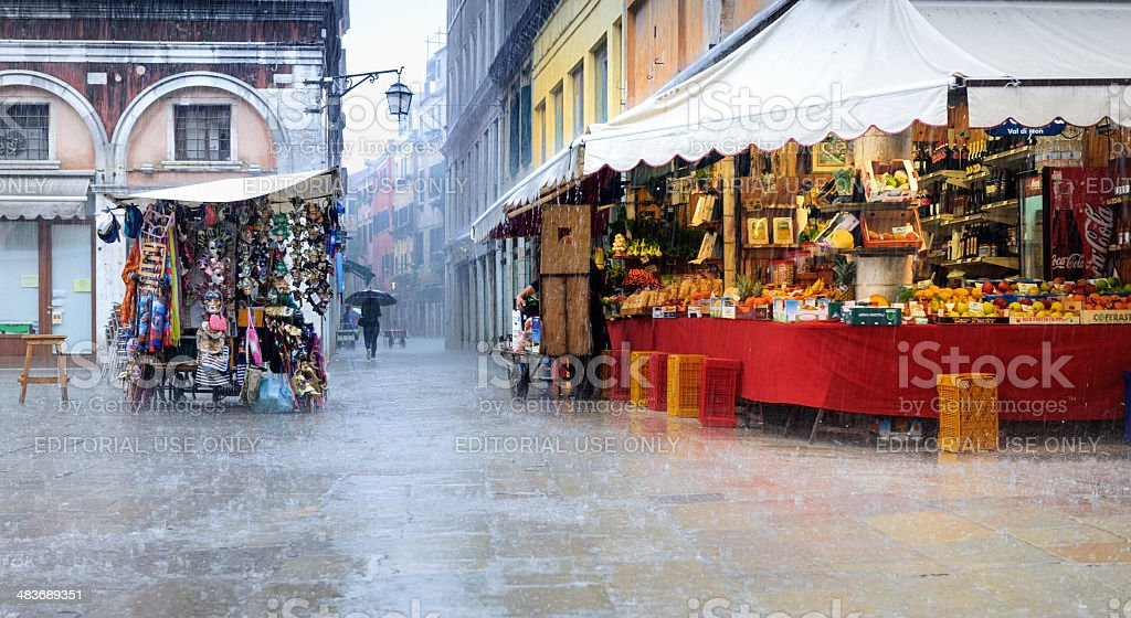 Venice in heavy rain shower royalty-free stock photo
